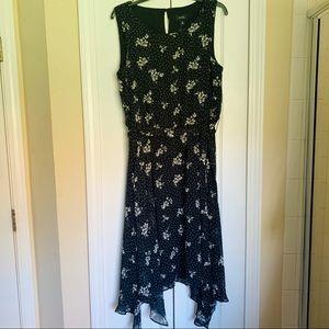 MSK black flowy floral printed midi dress - 12